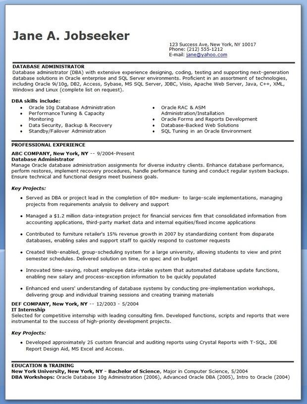 Entry Level Database Administrator Resume - Opinion of experts