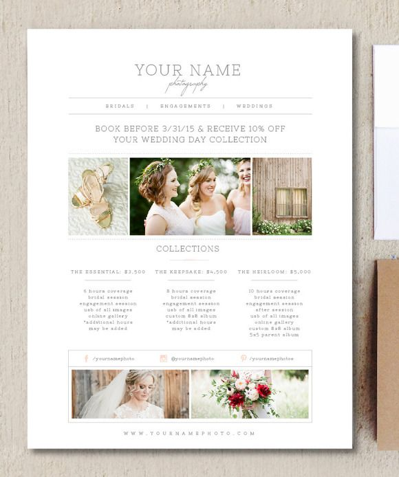Photography Pricing Template - Price List Template - Photographer