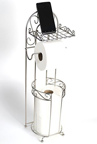 Free Standing Toilet Paper Holder With Phone Shelf For Bathroom By Mclee Creations Free Standing Toilet Paper Holder Toilet Paper Holder Bathroom Hardware Set