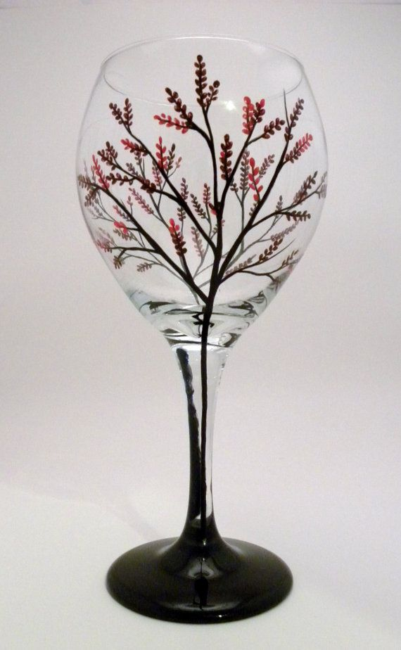 Cherry Blossom Tree Wine Glass By Granart On Etsy 22 00 Painted Wine Glass Hand Painted Wine Glass Whimsical Wine Glasses