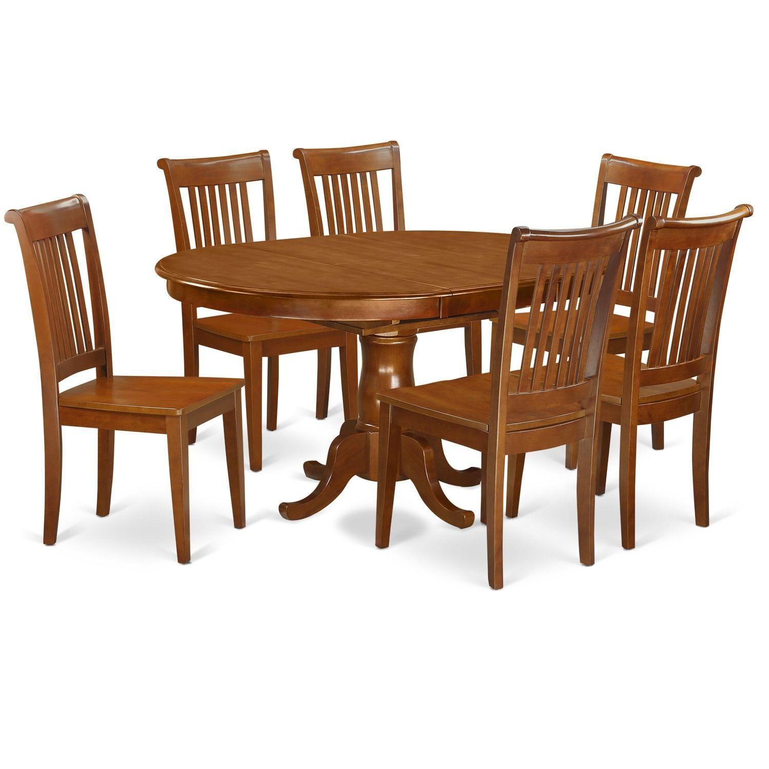 7-piece Oval Dining Table with Leaf and 6 Dining Chairs (Microfiber ...