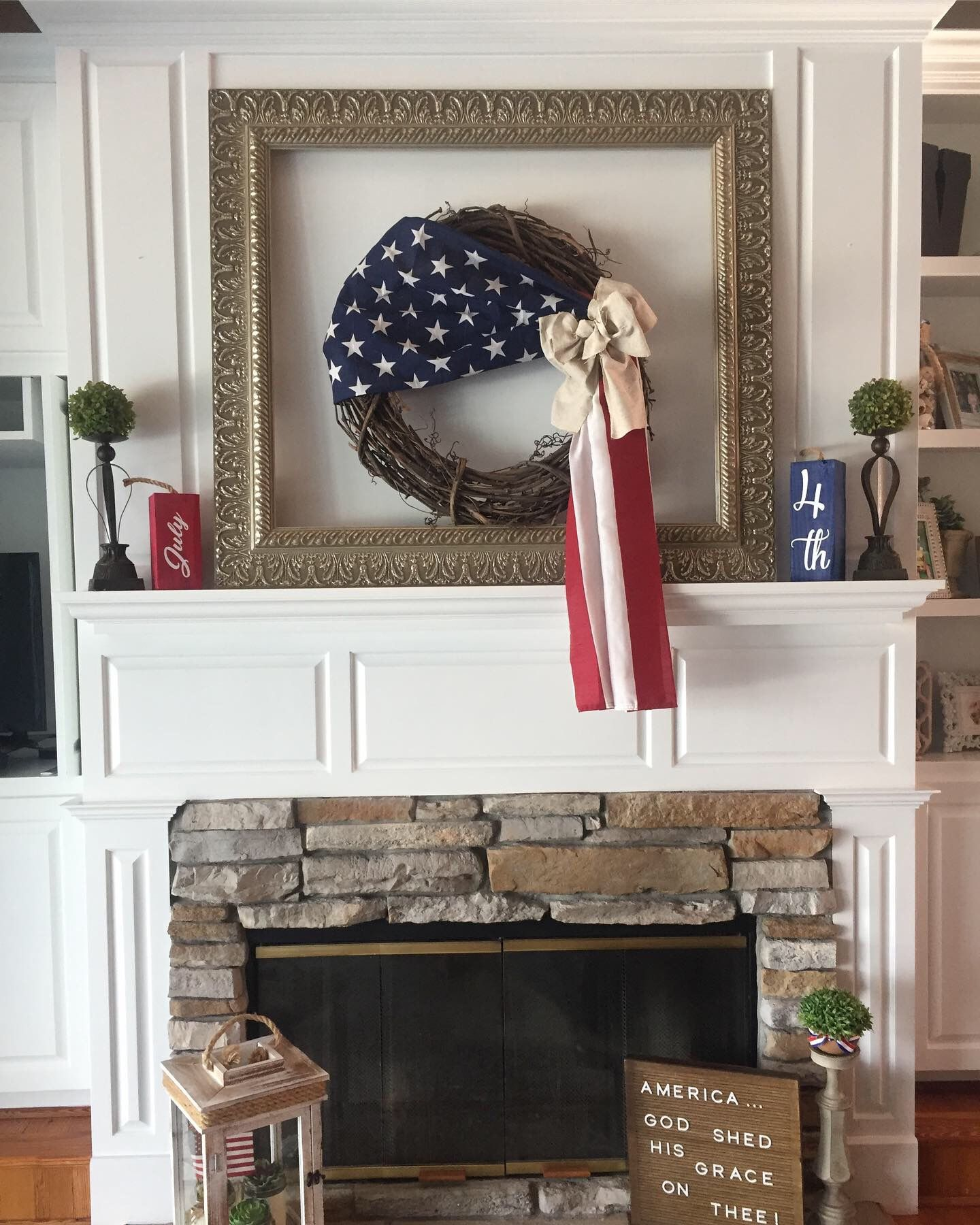 Love my July 4th fireplace decorations! | Fireplace decor ...