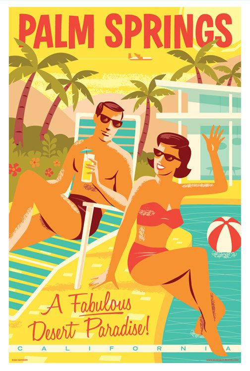 Palm Springs Retro Travel Poster Print by RedRobotCreative on Etsy