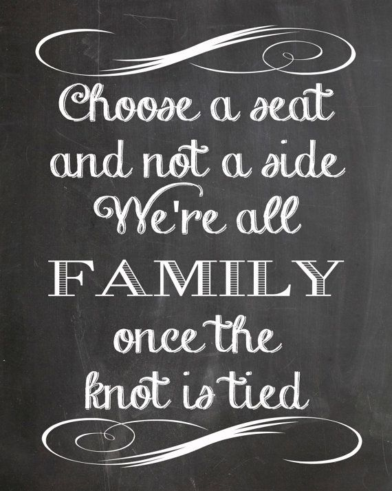 Choose A Seat Not A Side Chalkboard Wedding Sign by PaperCutCards ...