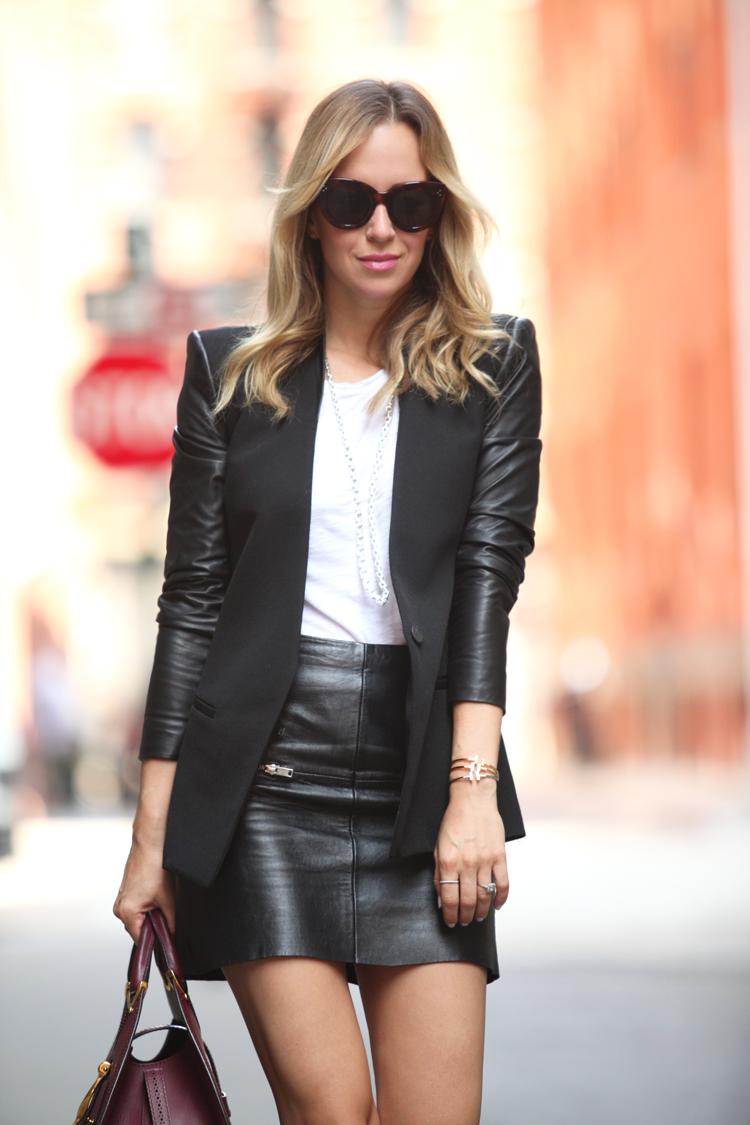 Blazer: Helmut Lan Leather Skirt: Zara Tee: Vince Shoes: Christian ...