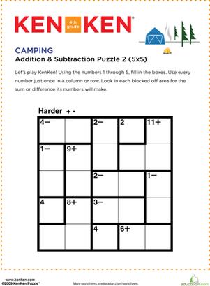 Camping Kenken Puzzle Camping Pinterest Math Math Worksheets