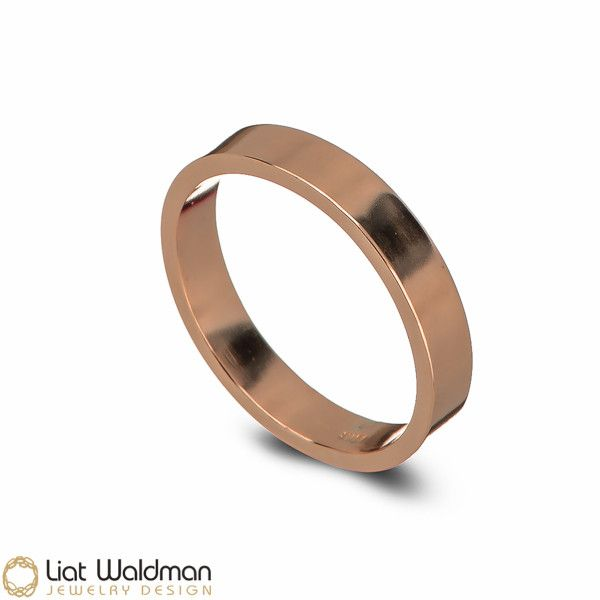 Classic 14k Rose Gold Unisex Wedding Ring Band from Liat Waldman Jewelry by DaWanda.com