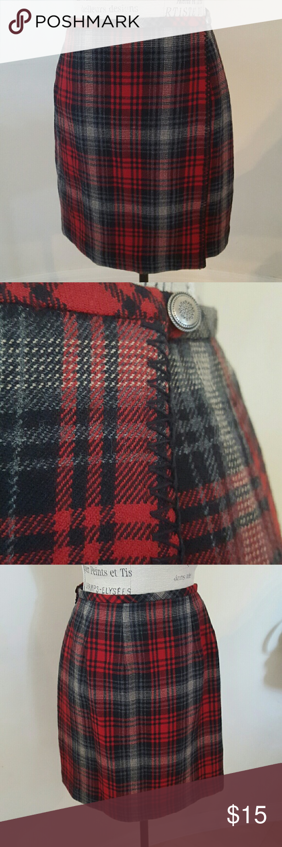 """Eddie Bauer 100% Wool Skirt Fully lined red, gray, and black plaid skirt in a wrap around style  Cant you just see it with black knit tights, and a black ribbed turtleneck.  Add boots and a scarf and voila! Size 8 measures 14"""" laying flat at the waiat and 18"""" long. Eddie Bauer Skirts Mini"""