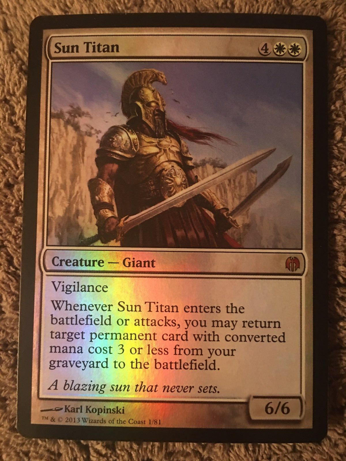 Magic mtg sun titan foil 181 card is in very nice