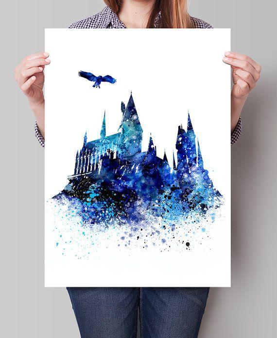 Art du château de Poudlard, Art mural Harry Potter, affiche de Poudlard, affiche de film, aquarelle …