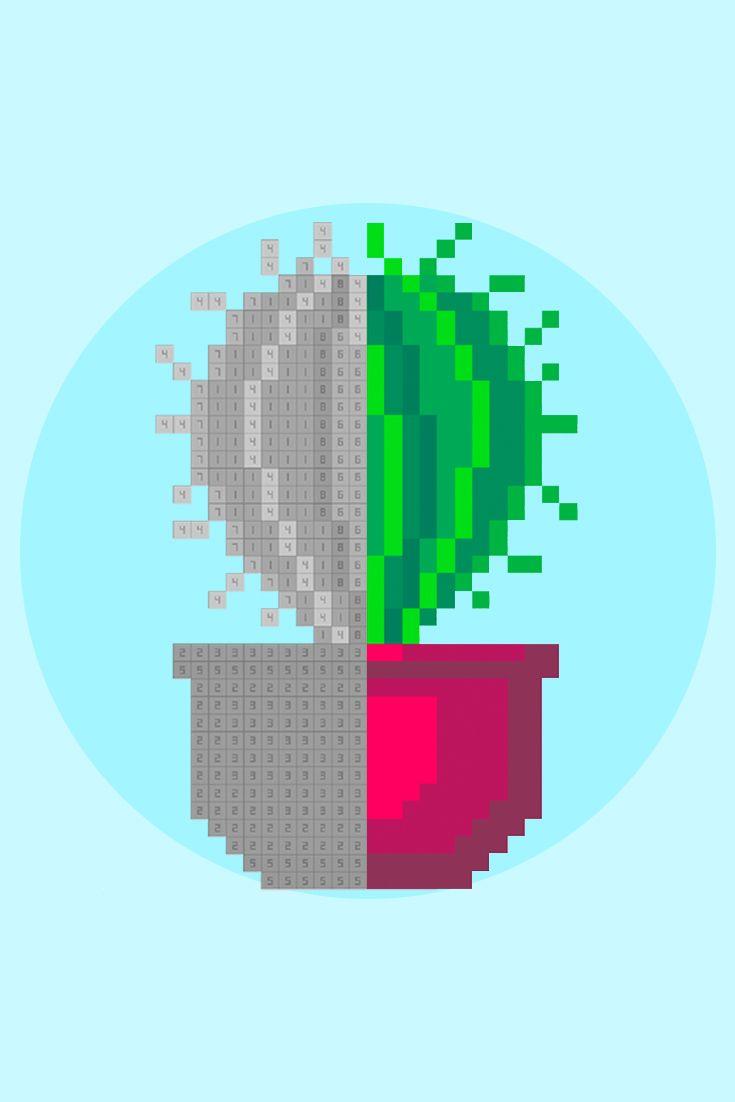 Green Pixel Kaktus. Pixelgram: Pixel Art Game. Color by ...