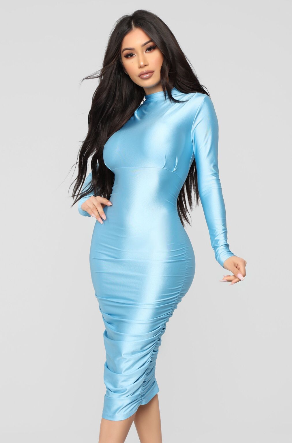 Love high neck long sleeve clinging dresses Blue Midi Dress 7b22118b2543