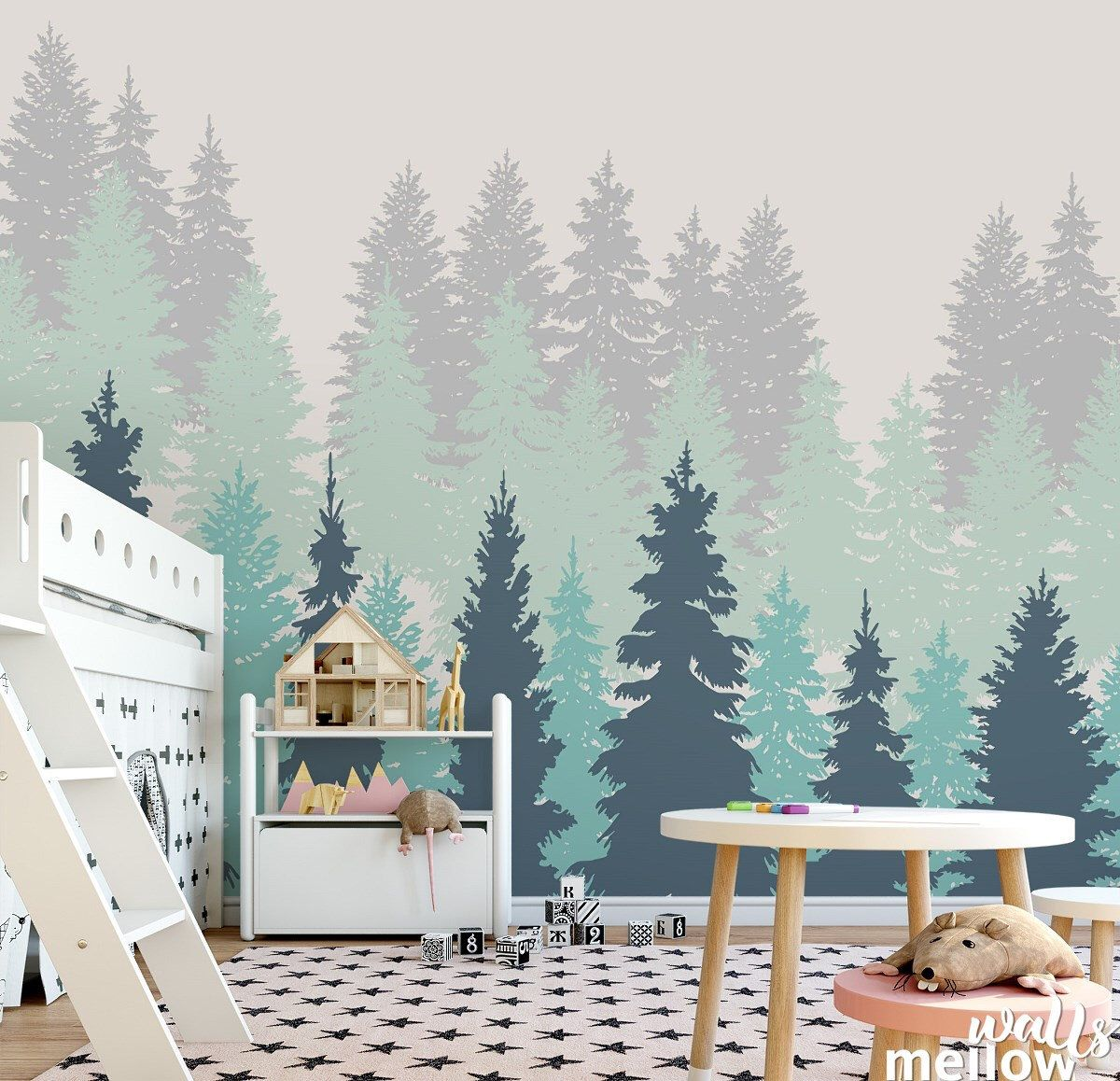 Forest Tree Removable Wallpaper ,Woodland Wall Decor