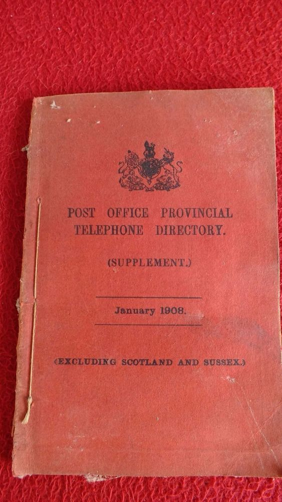Post Office  1908 Provincial telephone directory supplement