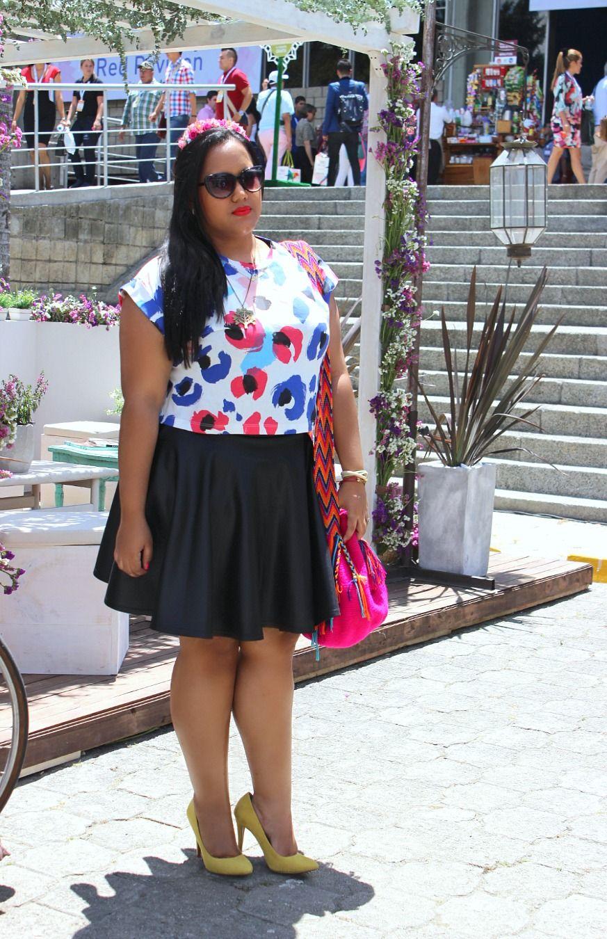Falda Skater y crop top tamaño plus size #Outfit #Moda #Plussize