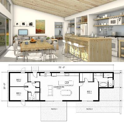 Inside This One Story Freegreen Home You Ll Find A Great Room Three Bedrooms And Two Baths Houseplans Com Modern House Plans House Plans House Floor Plans
