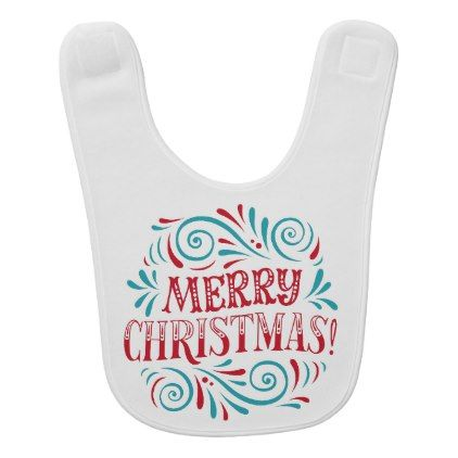 #Merry Christmas Typography Turquoise Red Bib - #Xmas #ChristmasEve Christmas Eve #Christmas #merry #xmas #family #kids #gifts #holidays #Santa
