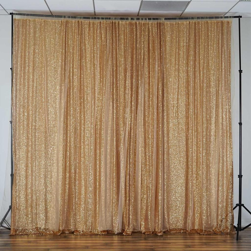 20ft X 10ft Premium Gold Sequin Backdrop Double Layered With