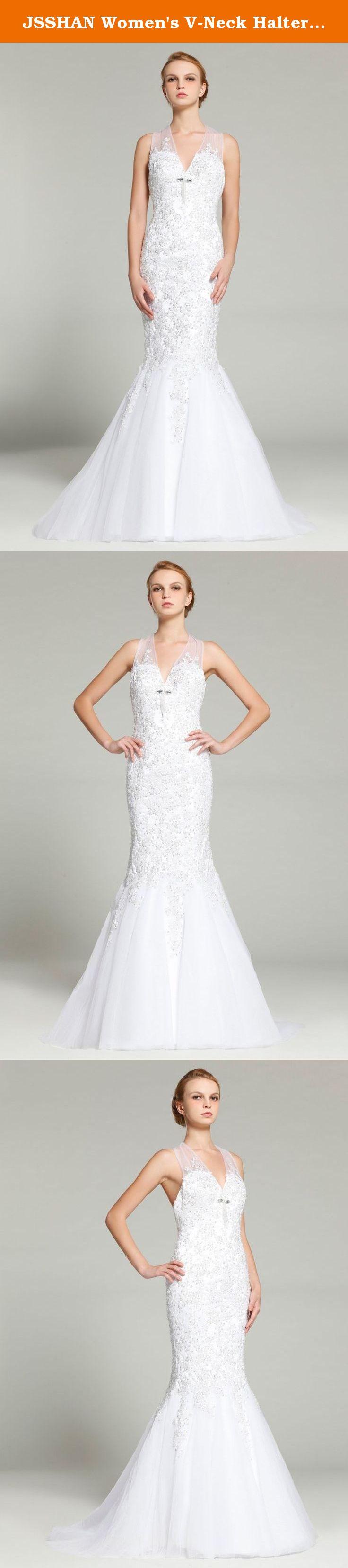 Jsshan womenus vneck halter beaded white tulle mermaid bridal
