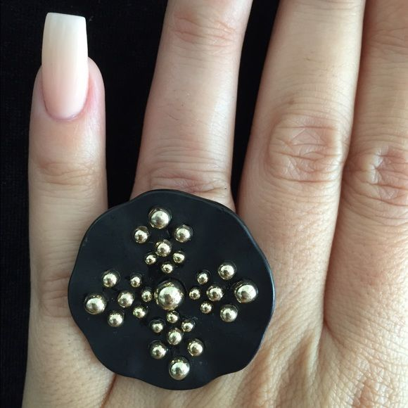 Stretchy Ring Black and gold-tone stretchy ring Jewelry Rings