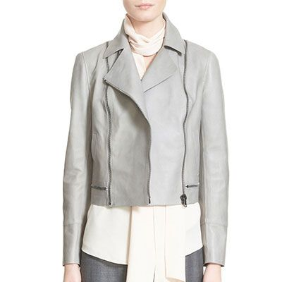 Nordstrom x Caroline Issa Moto Jacket, grey moto jacket, grey leather jacket, light grey leather jacket, light grey moto jacket