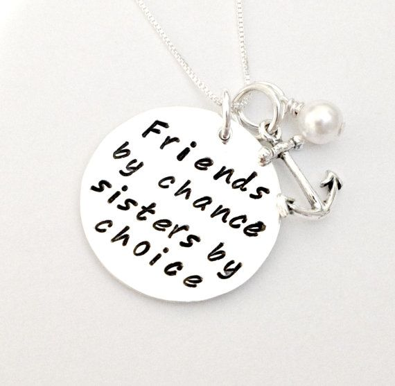 40f0e2303cbce Friends By Chance Sisters By Choice - Personalized Hand Stamped ...