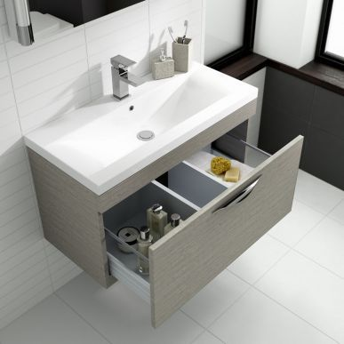 The Blonde Oak 600mm Vanity Unit From Hudson Reed Will Add Contemporary Style To Any Bathroom Wall Hung Vanity Small Bathroom Furniture Basin Cabinet