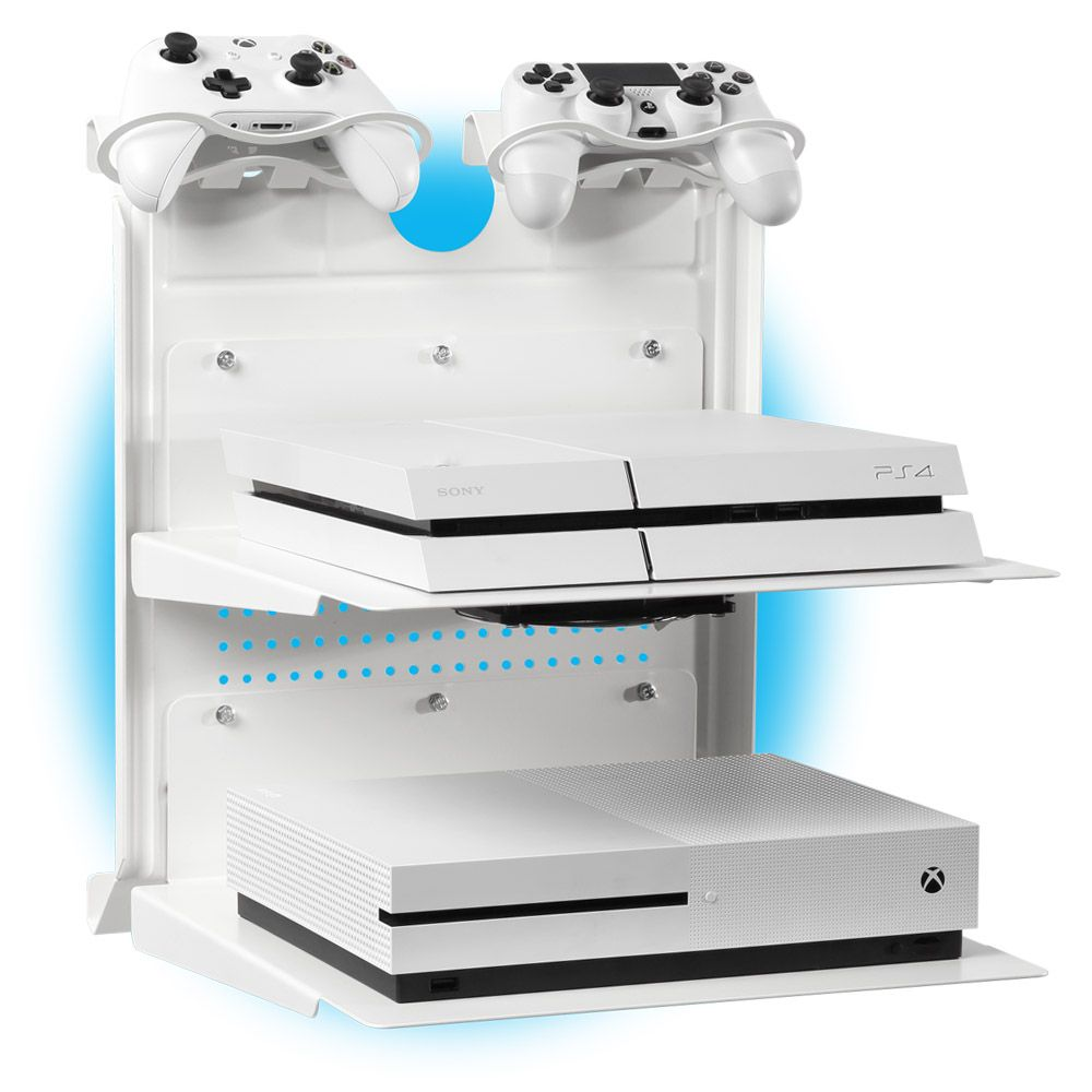 Check Out This Horizontal Wall Mount Xbox And Ps4 Gameside Bundle Double Shot Create For Your Passion Gamesid Video Game Storage Wall Mount Game Storage