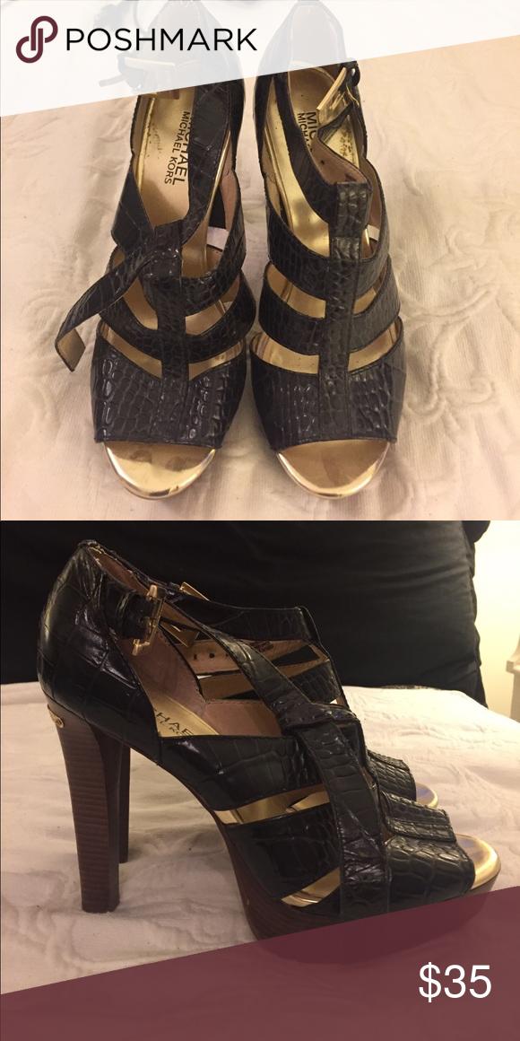 Michael Kors wooden platform heel Black