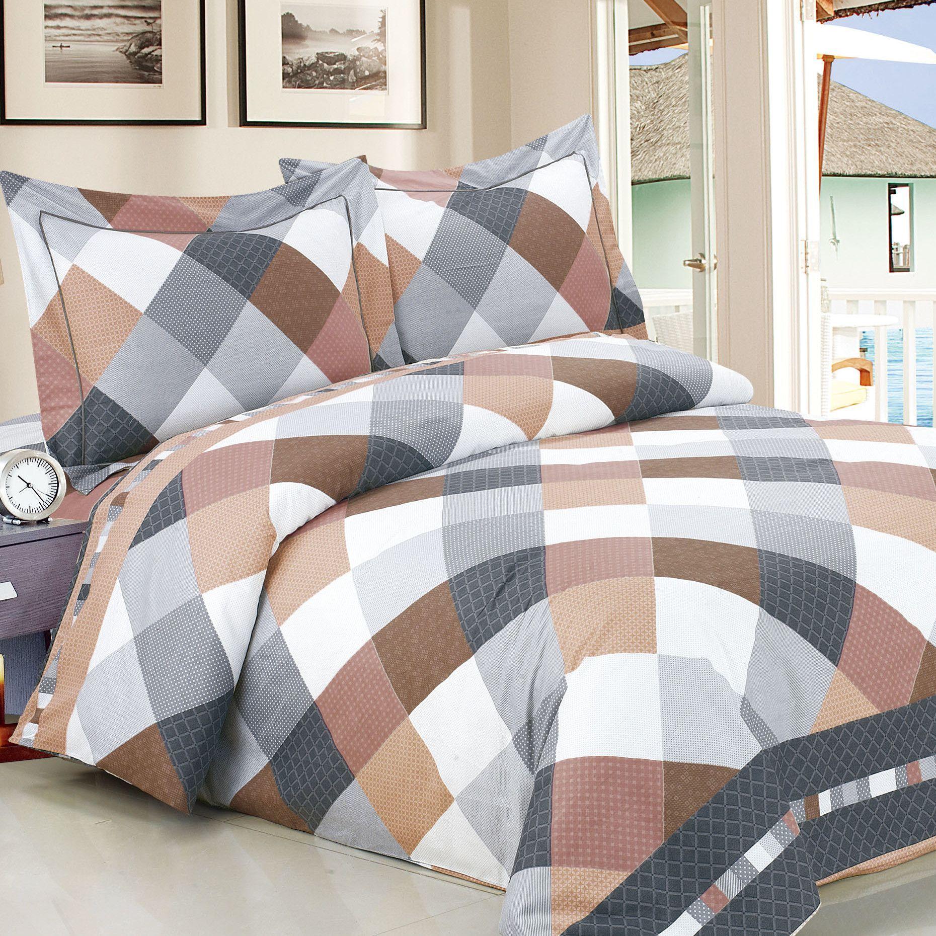 French Beige Grey Checks Luxurious 6 Piece Duvet Set