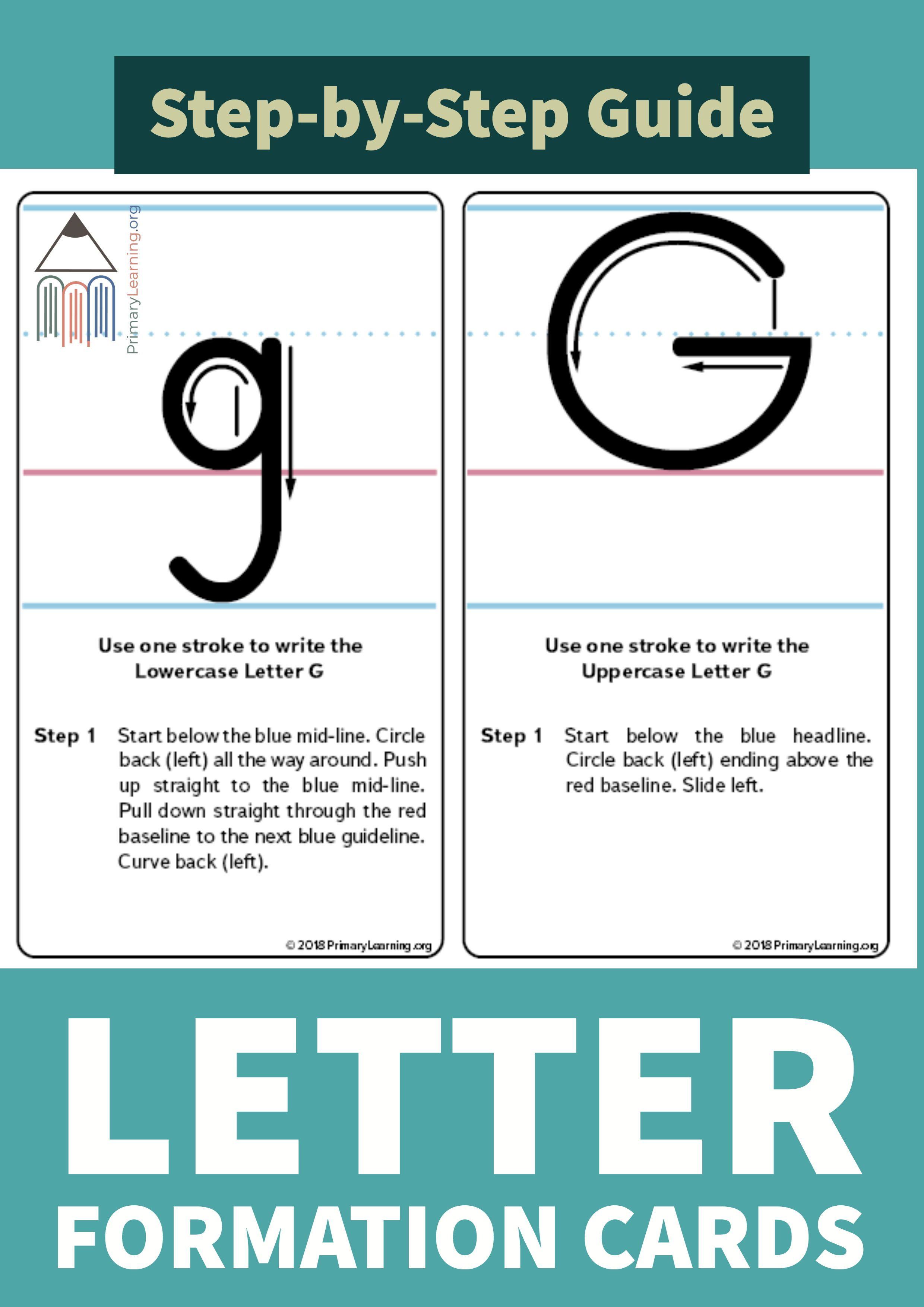These Cards Contain Step By Step Instruction On How To Write The Letter G Using The Continuous Method Letter Writing For Kids Handwriting Instruction Lettering [ 3509 x 2480 Pixel ]