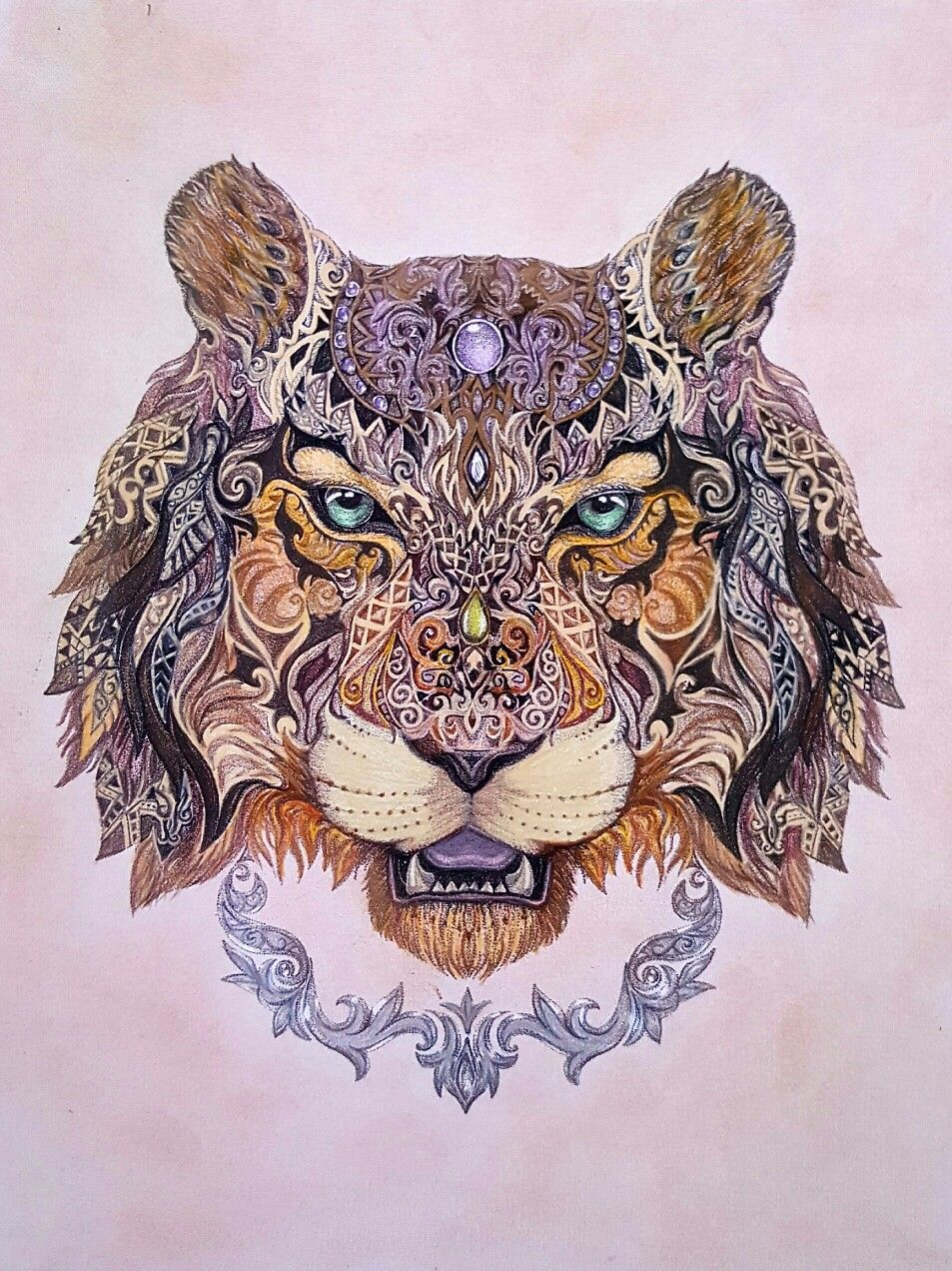 Tiger from spirit animals mandalas people book by wendy using faber castell polychromos - Tigre mandala ...