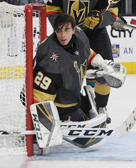 LAS VEGAS, NV - MARCH 31: Marc-Andre Fleury #29 of the Vegas Golden Knights tends net after his helmet came off in the third period of a game against the San Jose Sharks at T-Mobile Arena on March 31, 2018 in Las Vegas, Nevada. The Golden Knights won 3-2 and clinched the first spot in the Pacific Division. (Photo by Ethan Miller/Getty Images)