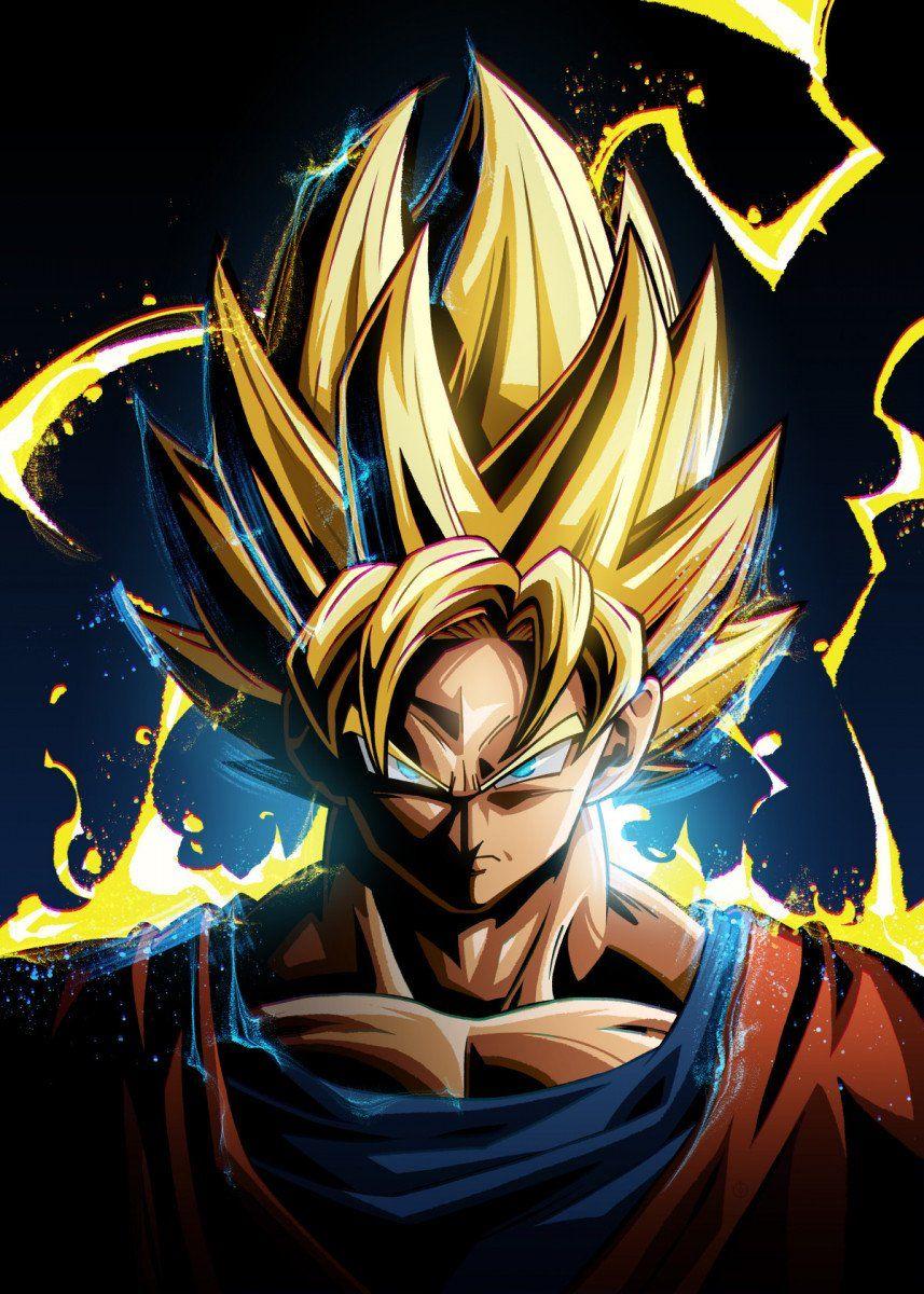 Super Saiyan Goku Metal Poster Nikita Abakumov Displate In 2020 Dragon Ball Artwork Anime Dragon Ball Super Dragon Ball Super Art