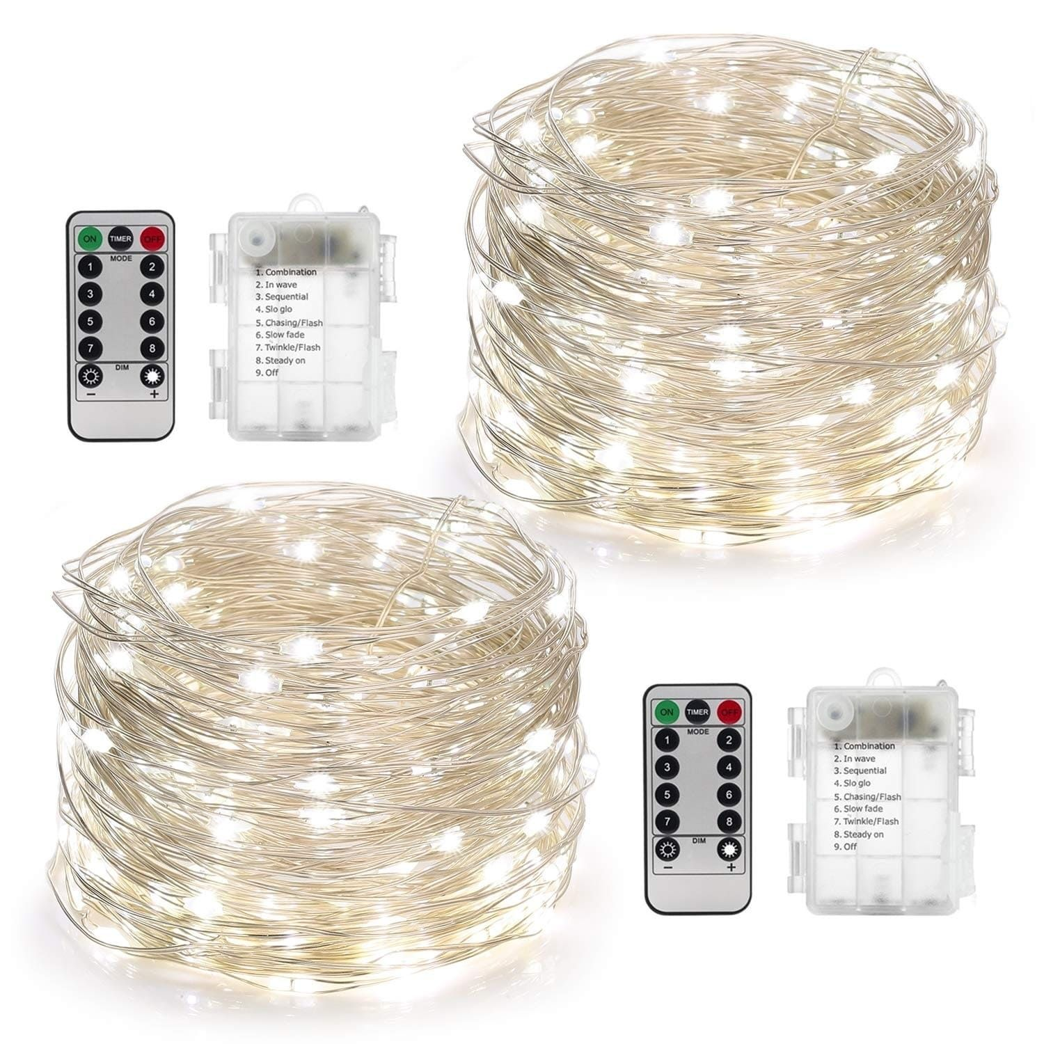 2 Set Fairy Lights Battery Operated 50LED, White Firefly