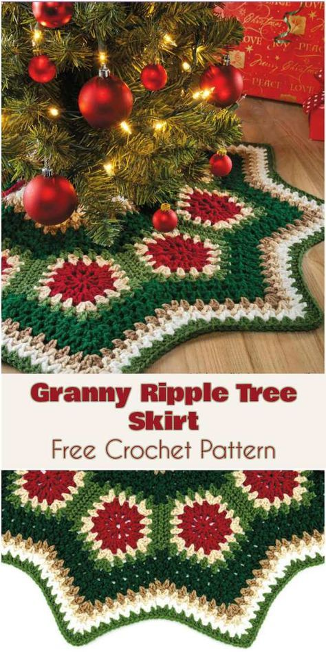 Granny Ripple Tree Skirt Free Crochet Pattern Crochet