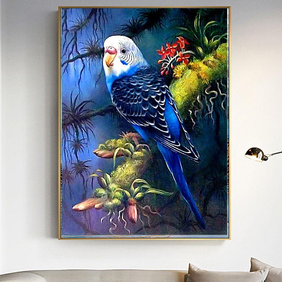 Art DIY 5D Diamond Parrots Painting Embroidery Cross Stitch Kit Unframed