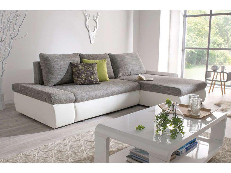 Canapé d angle convertible réversible STRADA coloris gris blanc