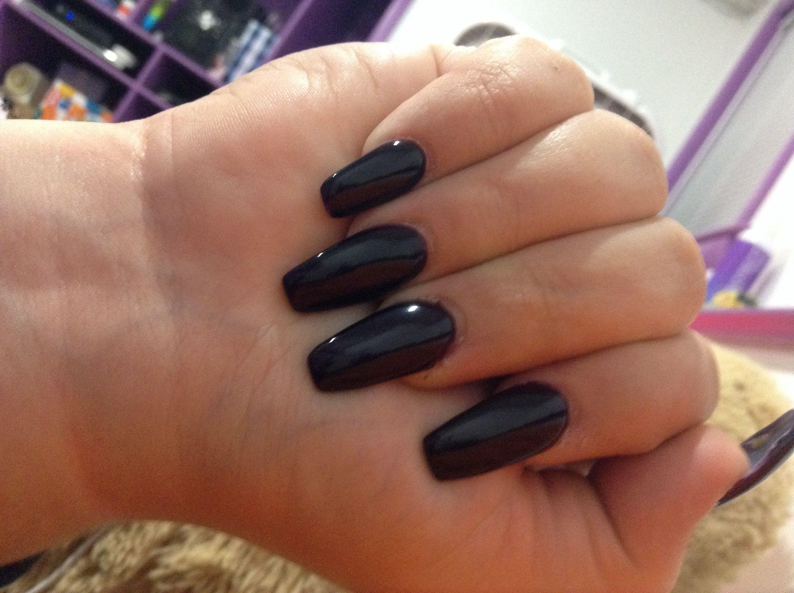 Dark Purple Coffin Shaped Acrylics | Nails | Pinterest | Dark purple ...