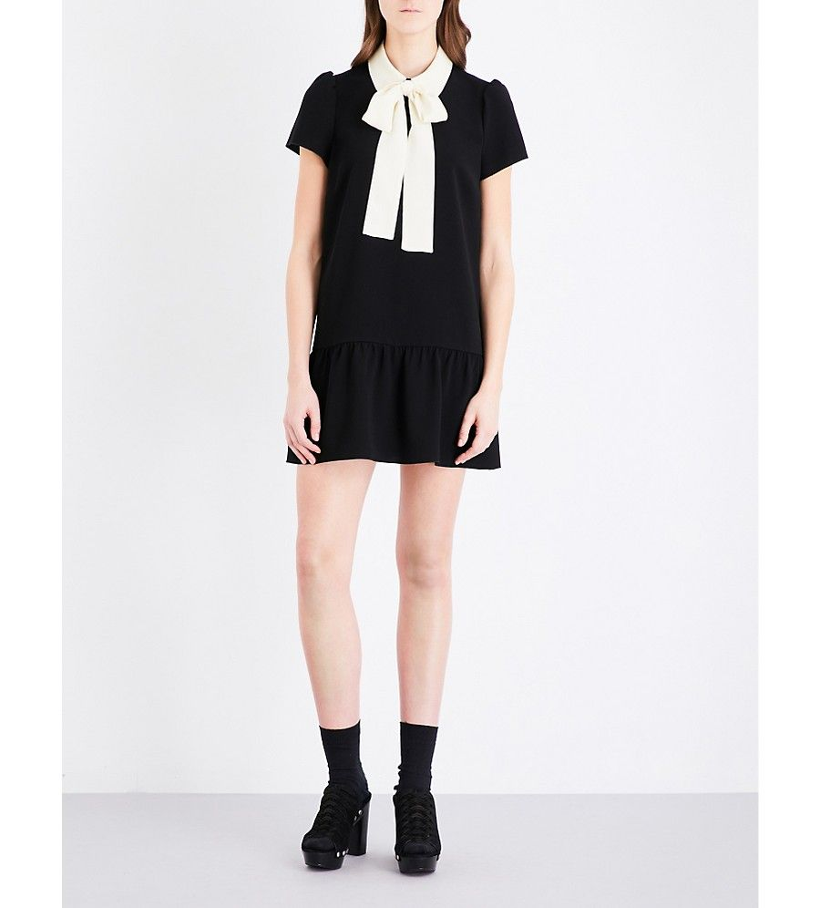 4173885443b RED VALENTINO - Contrast-collar pussybow crepe mini dress ...
