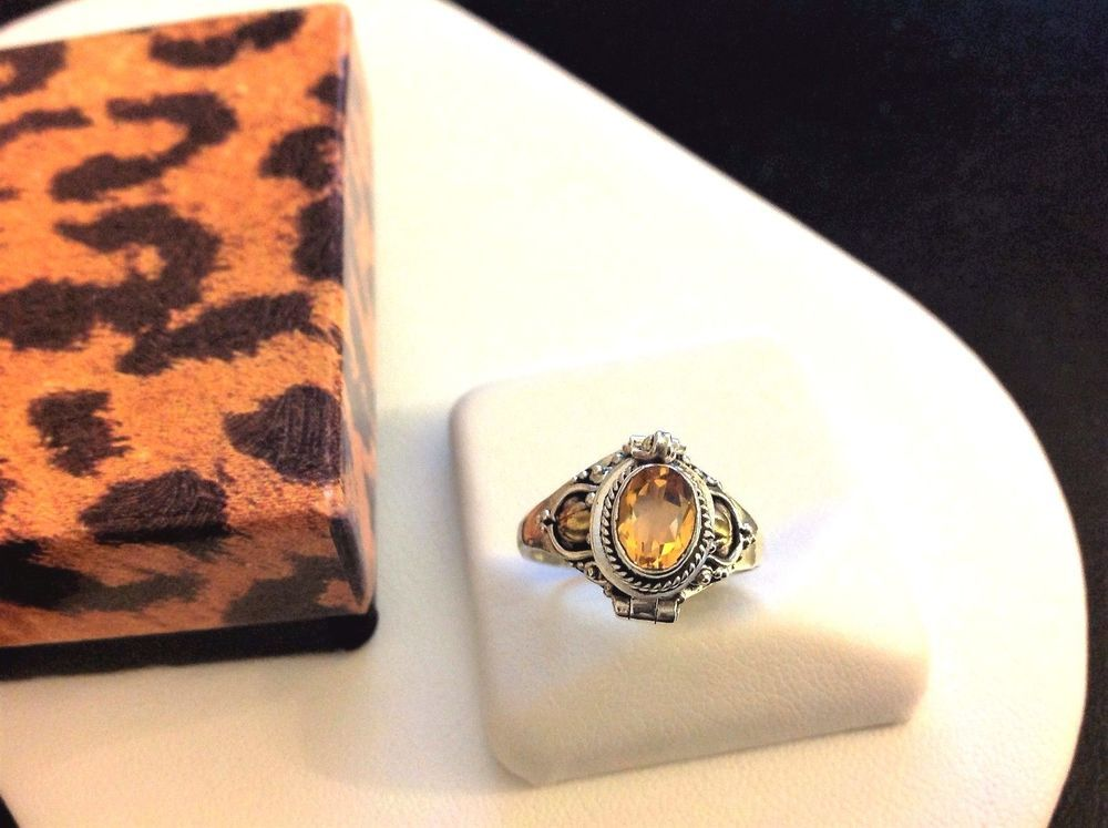 Citrine Poison Ring-Solid Sterling Silver 925-Hidden Compartment-Opens-Locket-7 #Handcrafted #Hinged #All