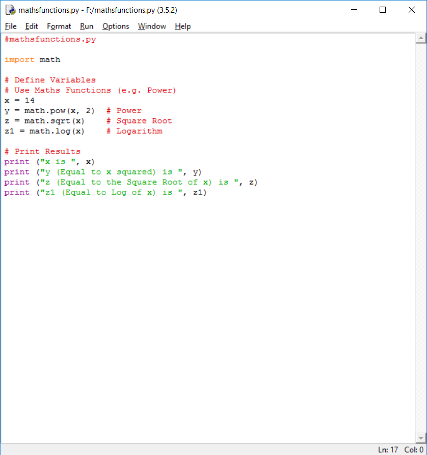 Using Maths Functions E G Sqrt Pow In Python Math Square Roots Function