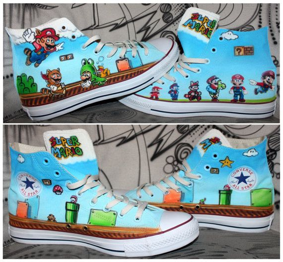 d08ab5a0e9ff Original Allstar Converse Chucks with a Super Mario Airbrush design . The  shoes are airbrushed as seen in the pictures after purchase .