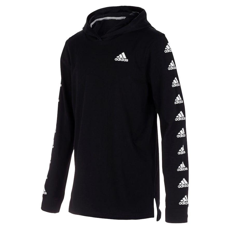 Boys 8 20 adidas Logo Sleeve Pull Over Hooded Tee in 2020