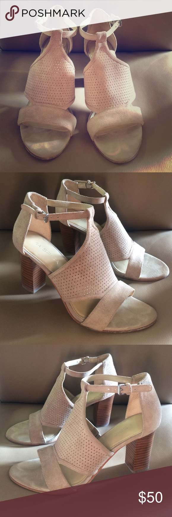 Via Spiga block heel booties/sandal Taupe block heel bootie/sandal, great used condition, worn once for a night out, just a half size too big for me, great neutral colored shoe! Via Spiga Shoes