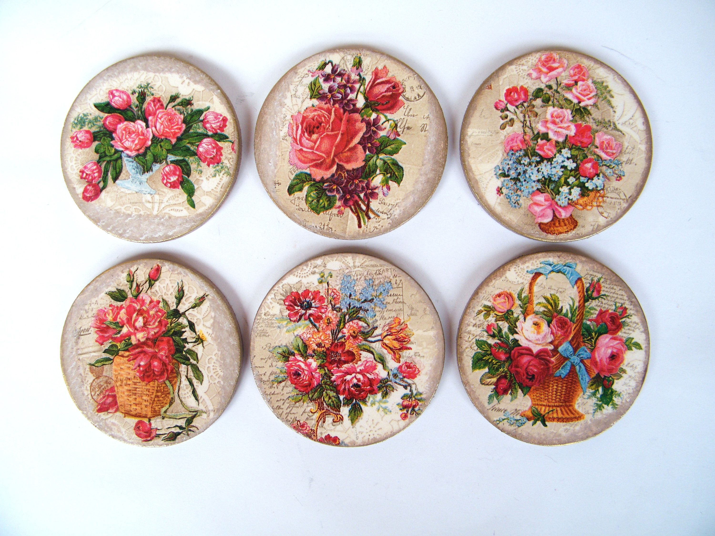 Floral Coaster Set Tableware 6 Wooden Placemats Decorative Pads Drink Coasters Set Round Table Wear Vintage Flowers Cup Mat Pad Flower Cup Cup Mat Vintage Flowers