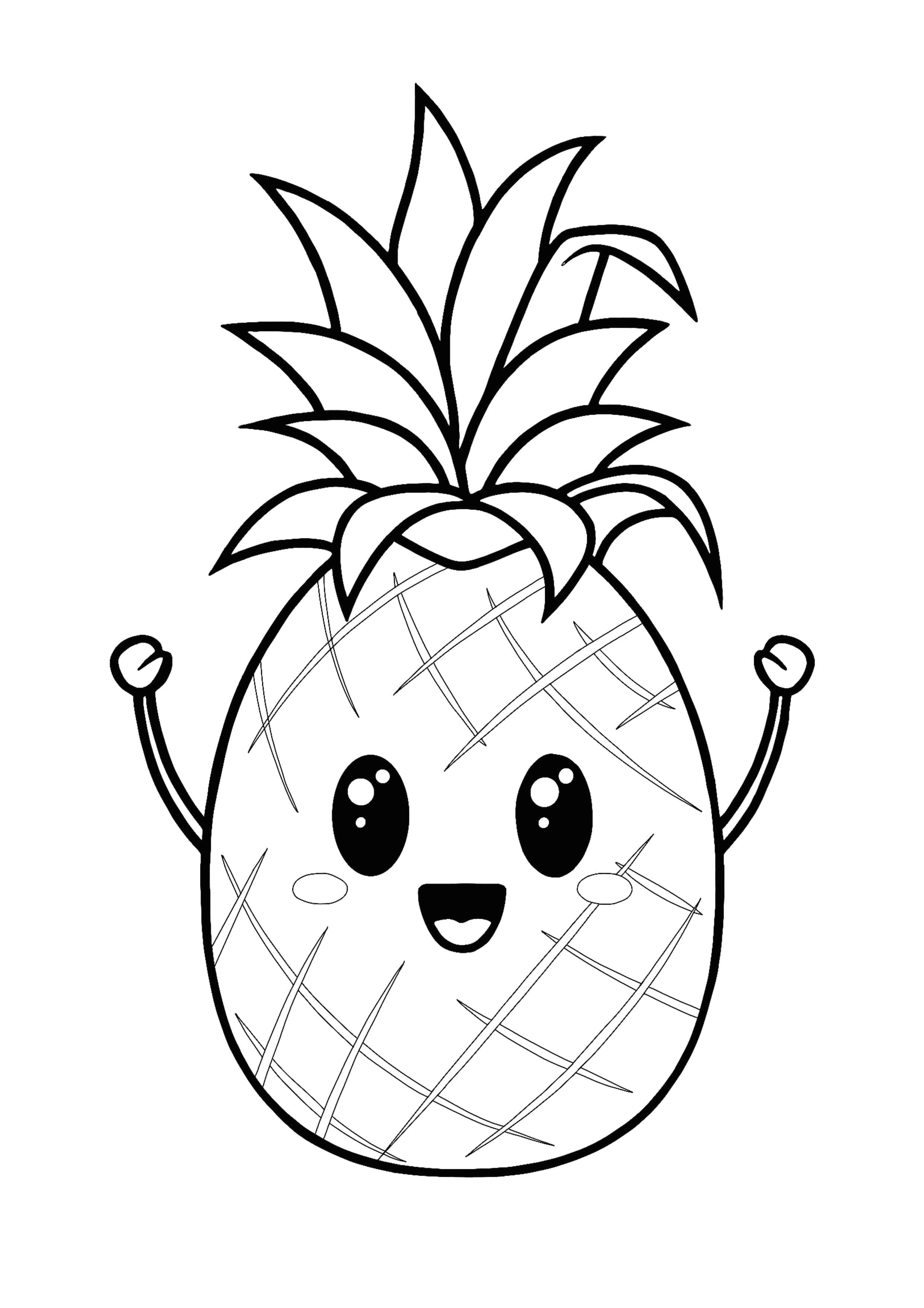 Cute Kawaii Pineapple Coloring Page In 2020 Kawaii Pineapple Coloring Pages Free Printable Coloring Pages