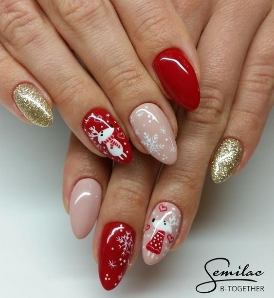 Best Christmas Gel Nails: TOP 55 CHRISTMAS NAIL ART DESIGN FOR CHRISTMAS PARTY 2019