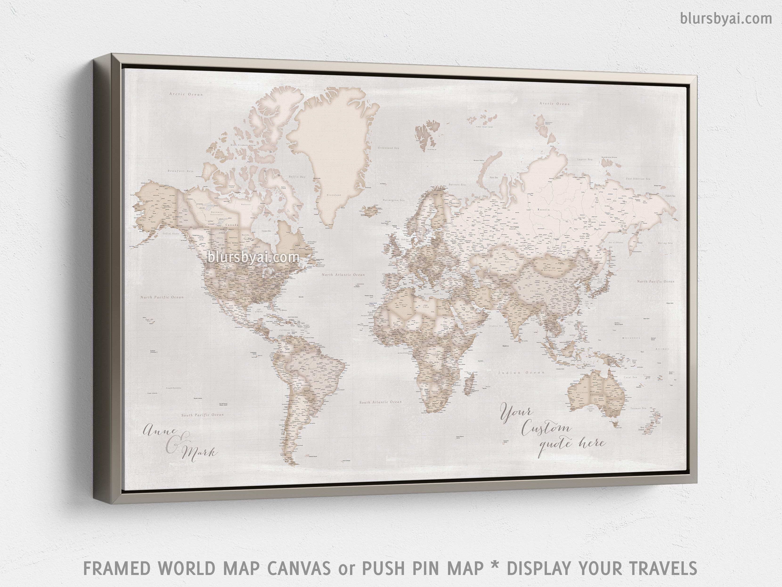 Rustic World Map Canvas Print