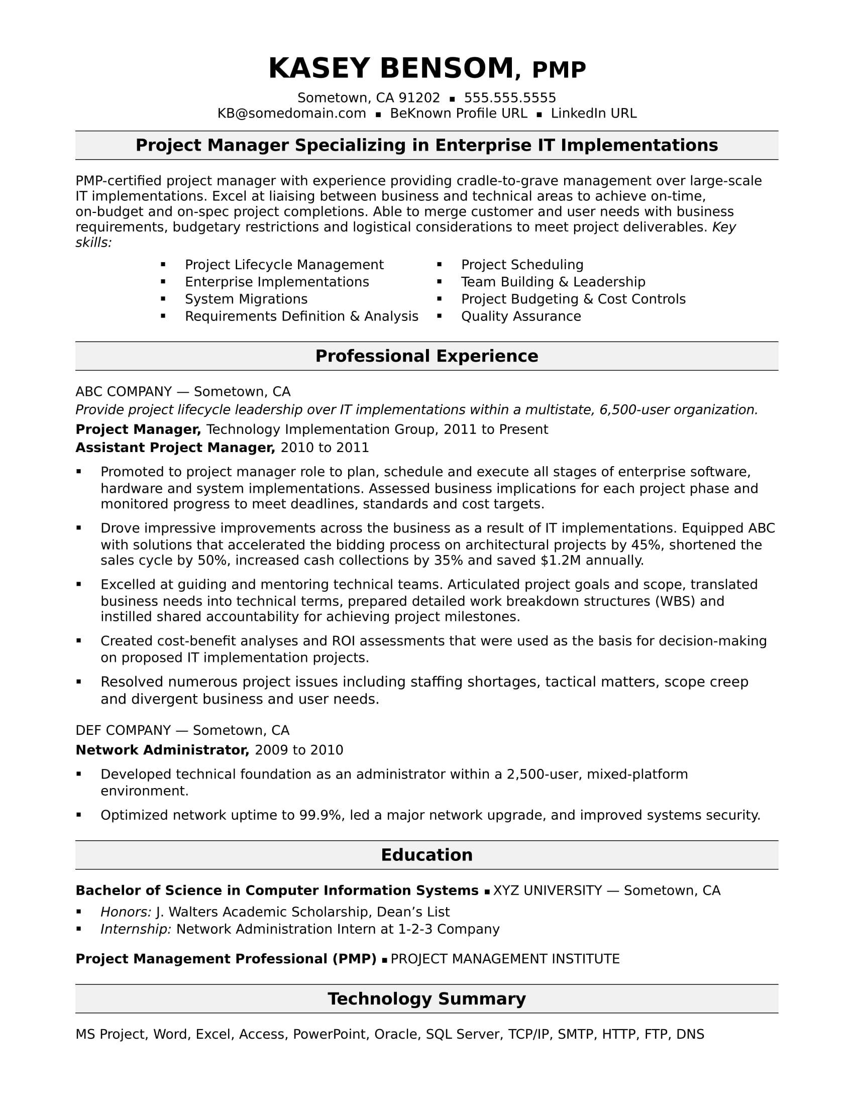 Midlevel project manager cvresume example project